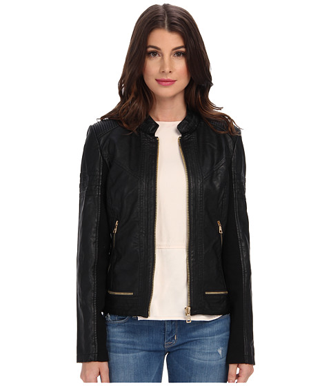 Sam Edelman - Elise Faux Leather Jacket (Black) Women's Coat