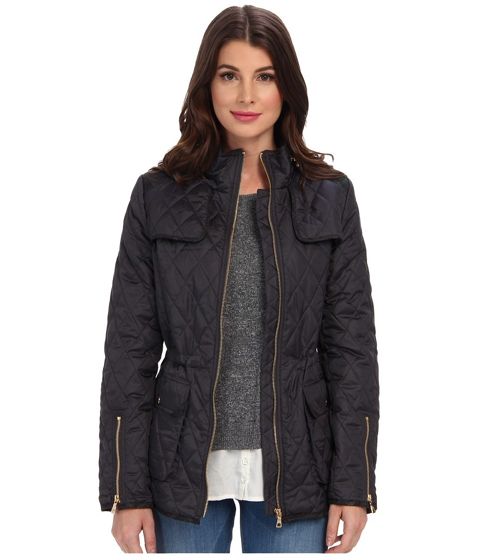 Sam Edelman - Lexi Quilted Coat w/ Plaid Trim (Slate) Women's Coat