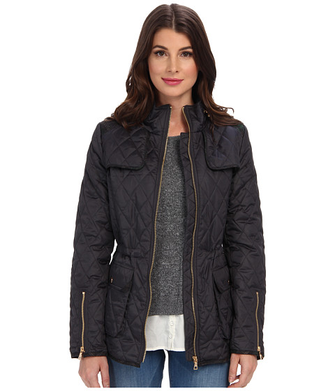 Sam Edelman - Lexi Quilted Coat w/ Plaid Trim (Slate) Women