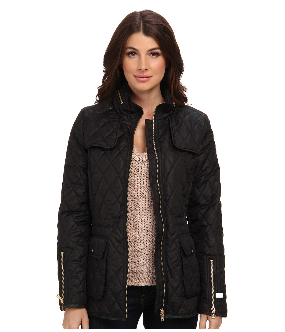 Sam Edelman - Lexi Quilted Coat w/ Plaid Trim (Black) Women's Coat