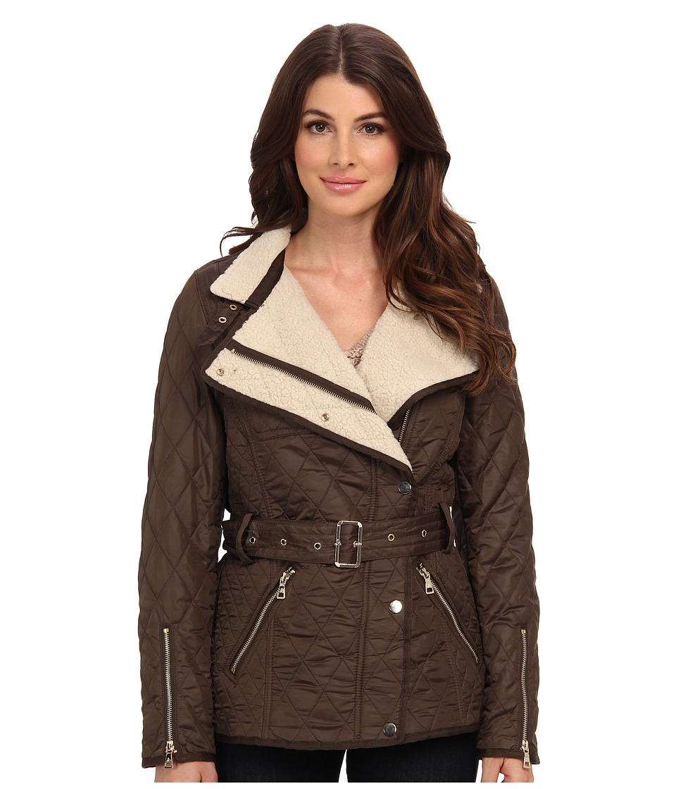 Sam Edelman - Rylie Quilted Jacket w/ Sherpa Inner (Olive) Women's Coat