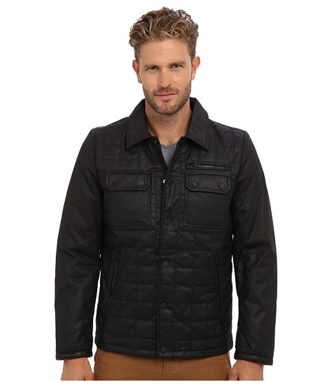 Vince Camuto - Carbon Coated Quilted Shirt Collar Jacket (Black) Men