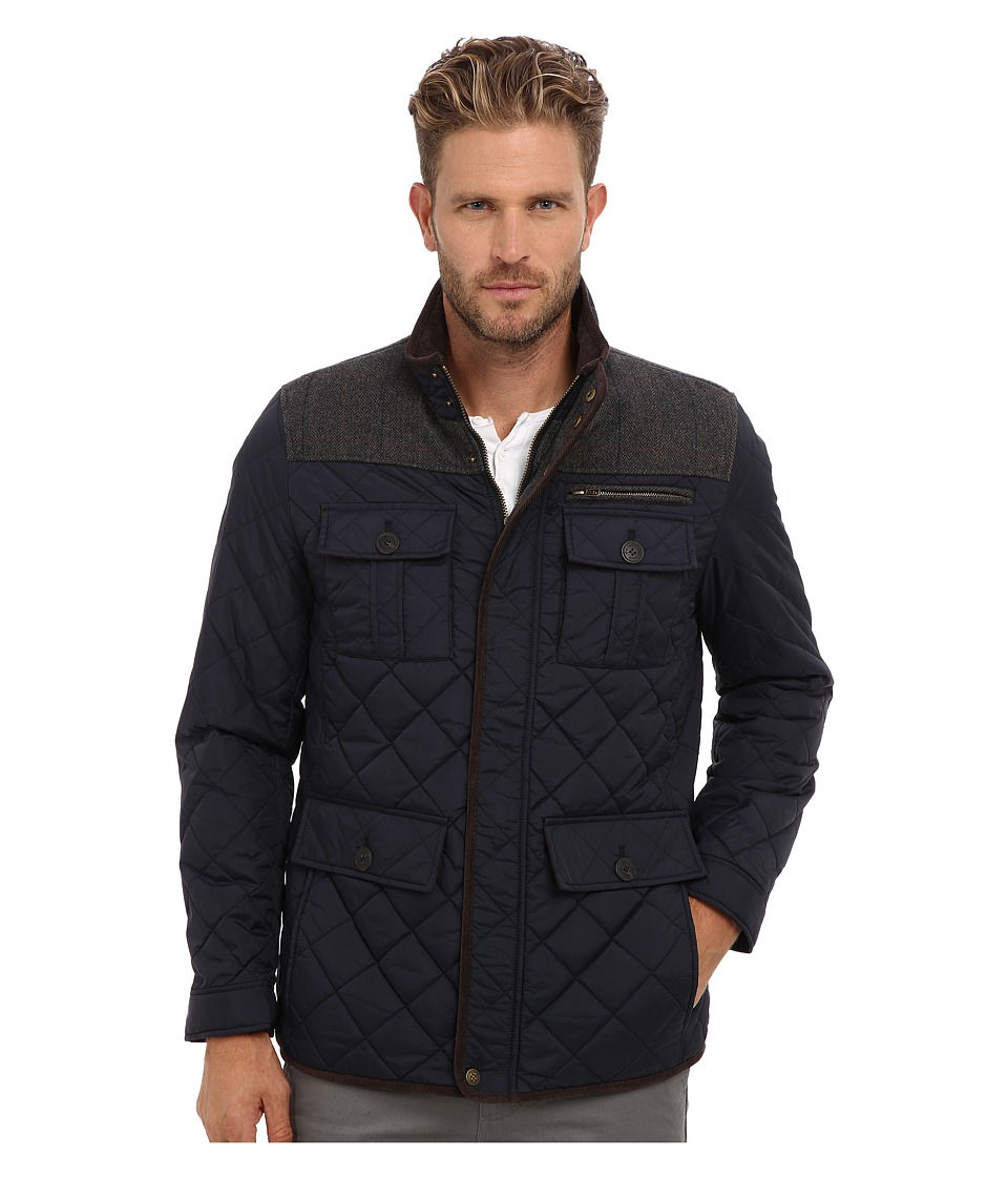 Vince Camuto - Quilted Nylon Jacket With Plaid Corduroy Details (Navy w/ Grey) Men's Jacket