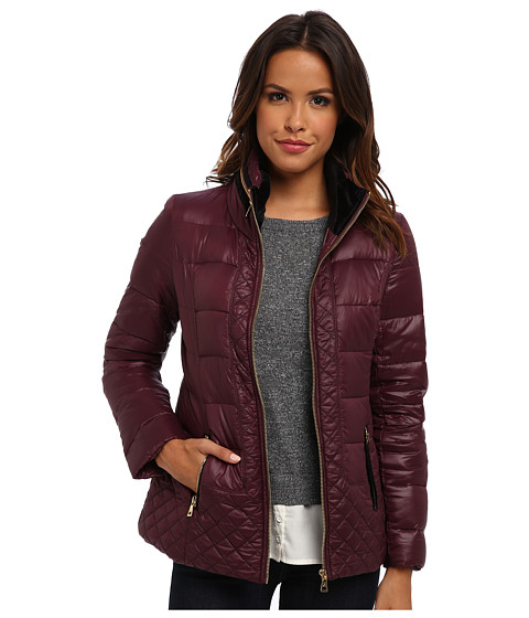 Sam Edelman - Loren Packable Hood Coat w/ Velvet Trim (Wine) Women