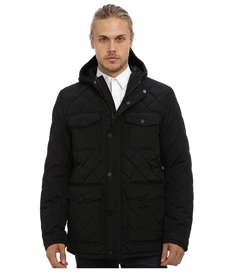 Vince Camuto - Quilted Nylon Hooded Jacket (Black) Men's Jacket