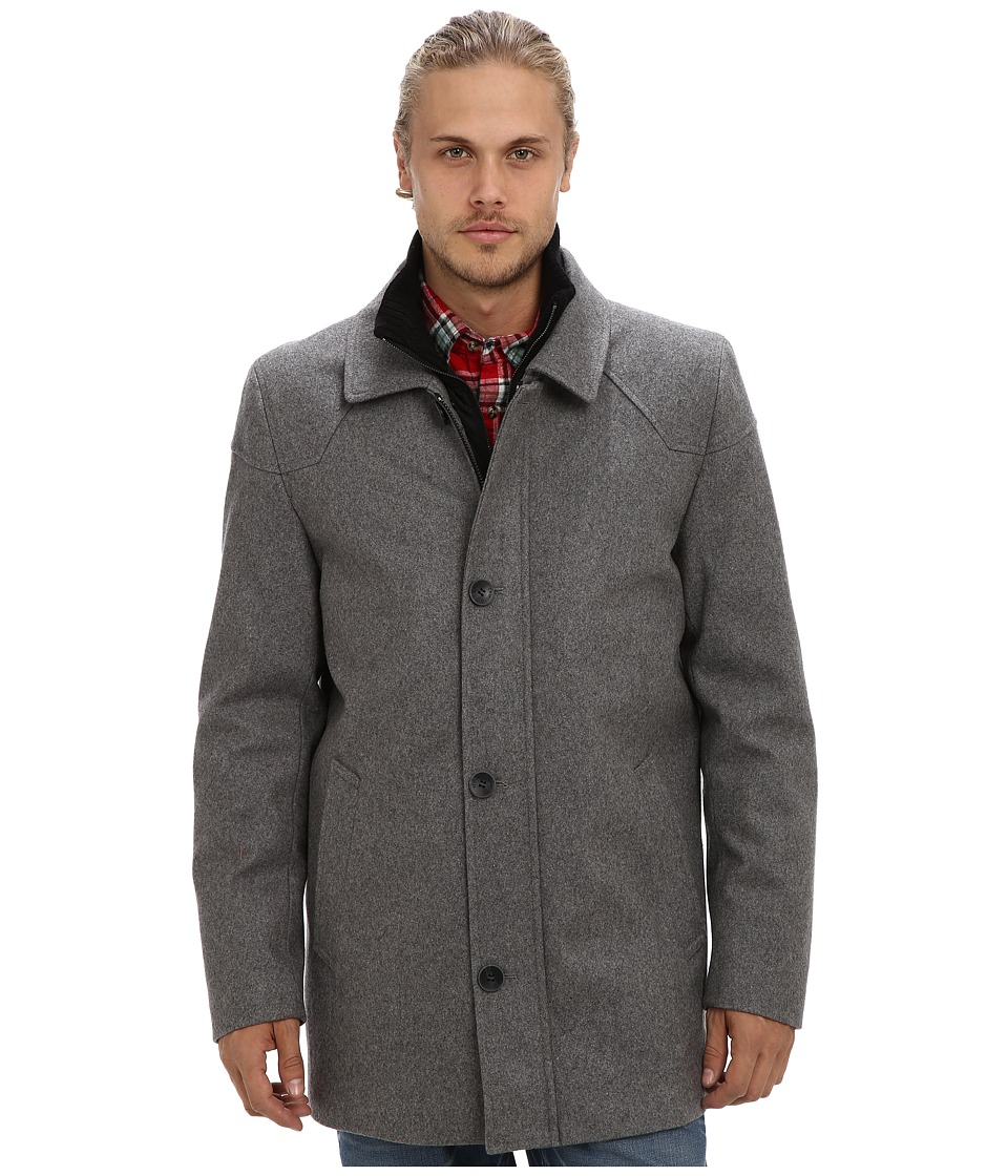 Vince Camuto - Melton Carcoat With Removable Quiled Nylon Bib Knit Collar (Heather Grey) Men's Coat