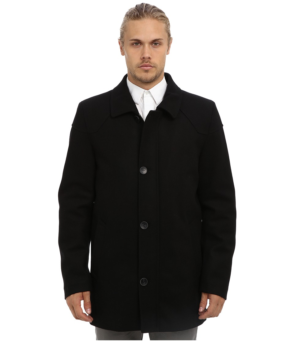 Vince Camuto - Melton Carcoat With Removable Quiled Nylon Bib Knit Collar (Black) Men's Coat