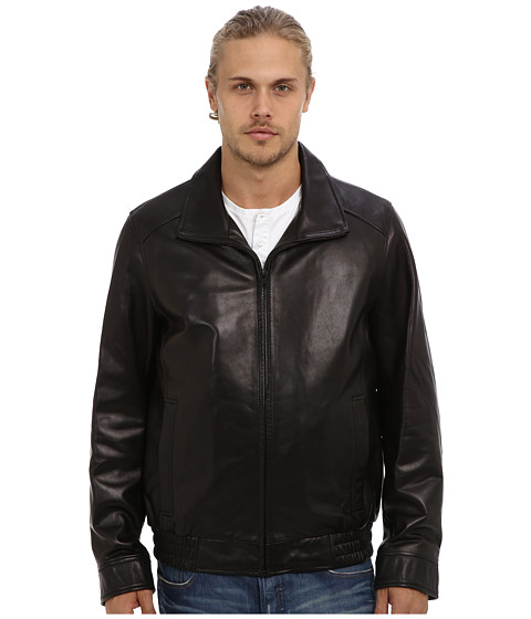 Vince Camuto - Smooth Lamb Convertible Collar With Removable Fleece Quilted Liner (Black) Men