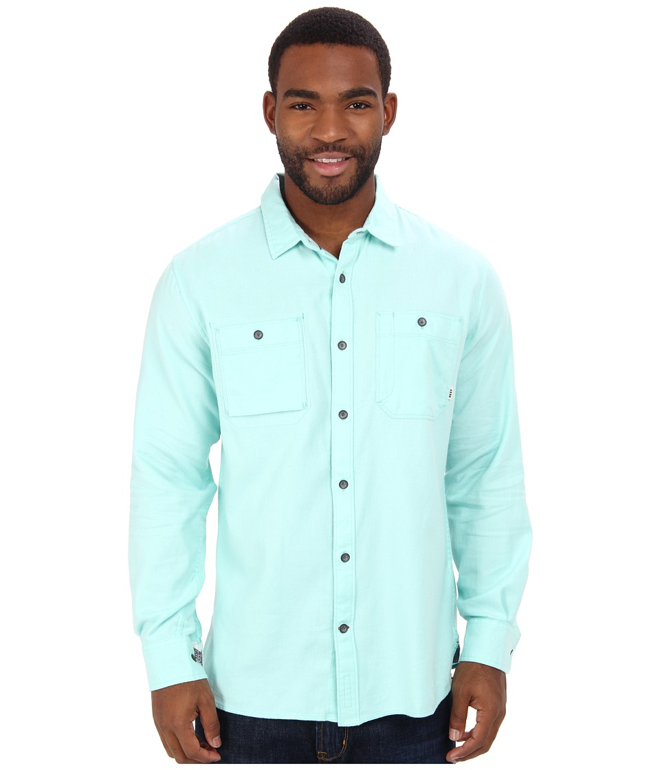 Reef - Reef Born Solid L/S Woven (Aqua) Men's Long Sleeve Button Up