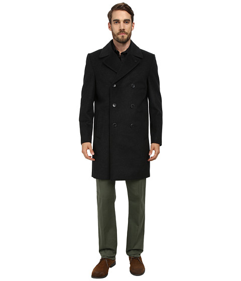 Vince Camuto - Storm System Wool Melton Double Breasted Top Coat (Charcoal) Men's Coat