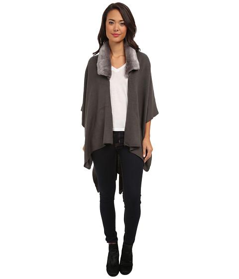 Echo Design - Fur Collar Ruana (Charcoal) Women