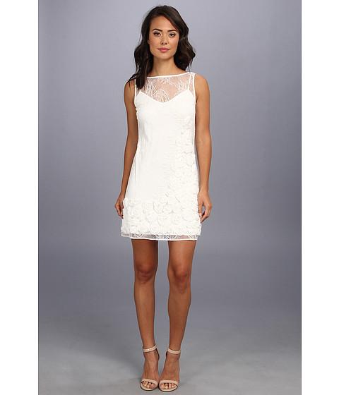 Jessica Simpson - Sleeveless Dress w/ Soutache Flower Detail (White) Women's Dress