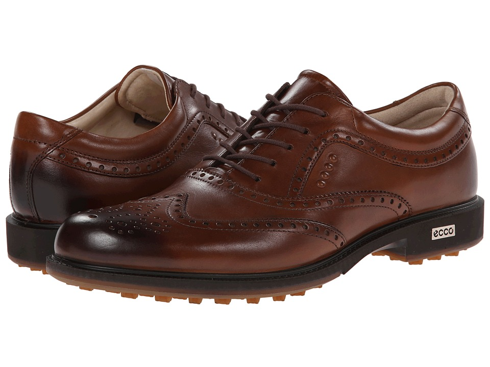 ECCO Golf - Tour Hybrid Wingtip (Walnut) Men's Golf Shoes