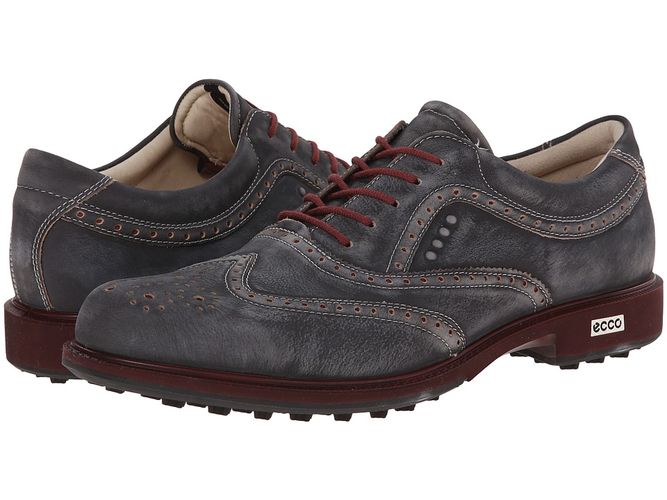 ECCO Golf - Tour Hybrid Wingtip (Black/Port) Men's Golf Shoes