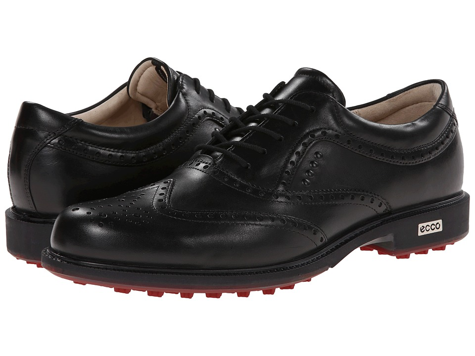 ECCO Golf - Tour Hybrid Wingtip (Black/Brick) Men's Golf Shoes