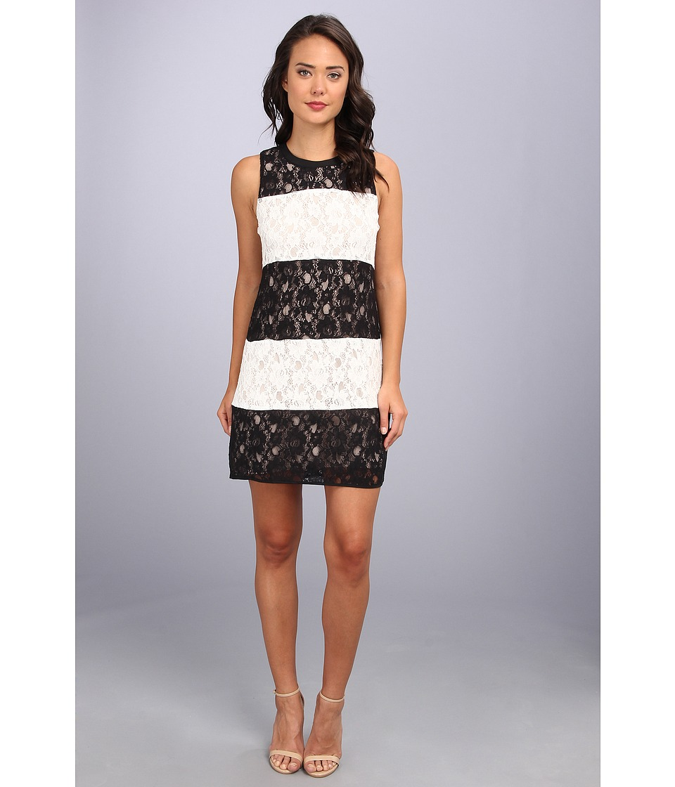Jessica Simpson - Sleeveless Lace Strip Shift (Black) Women's Dress