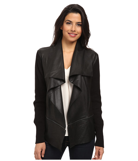 Kenneth Cole New York - Nell Leather Sweater Jacket (Black) Women