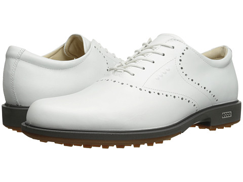 ECCO Golf - Tour Hybrid HYDROMAX (White/Orange) Men's Golf Shoes