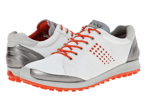 ECCO Golf - BIOM Hybrid 2 (White/Fire) Men's Golf Shoes