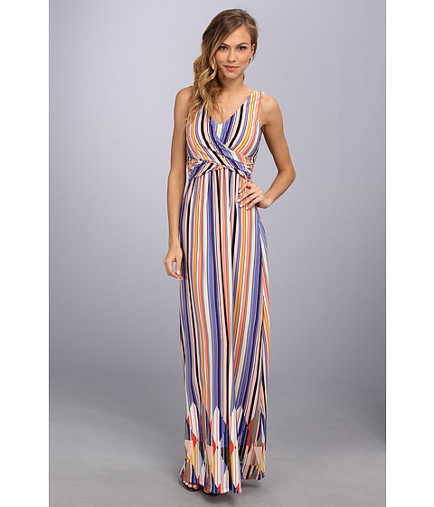 Jessica Simpson - Sleeveless Maxi Dress w/ Wrap Bodice (Stripe) Women