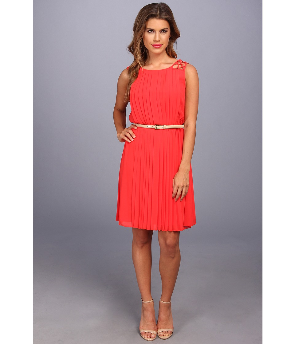 Jessica Simpson - Lattice Shoulder Pleated Blouson (Grenadine) Women's Dress