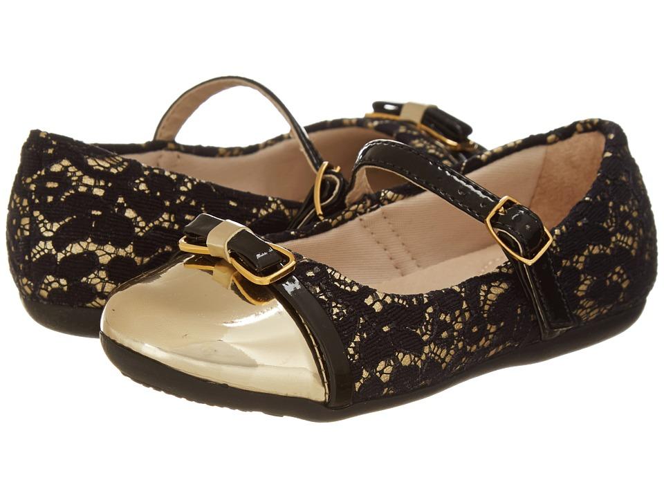 Pampili - Bailarina 188185 (Toddler/Little Kid) (Black/Gold) Girl's Shoes