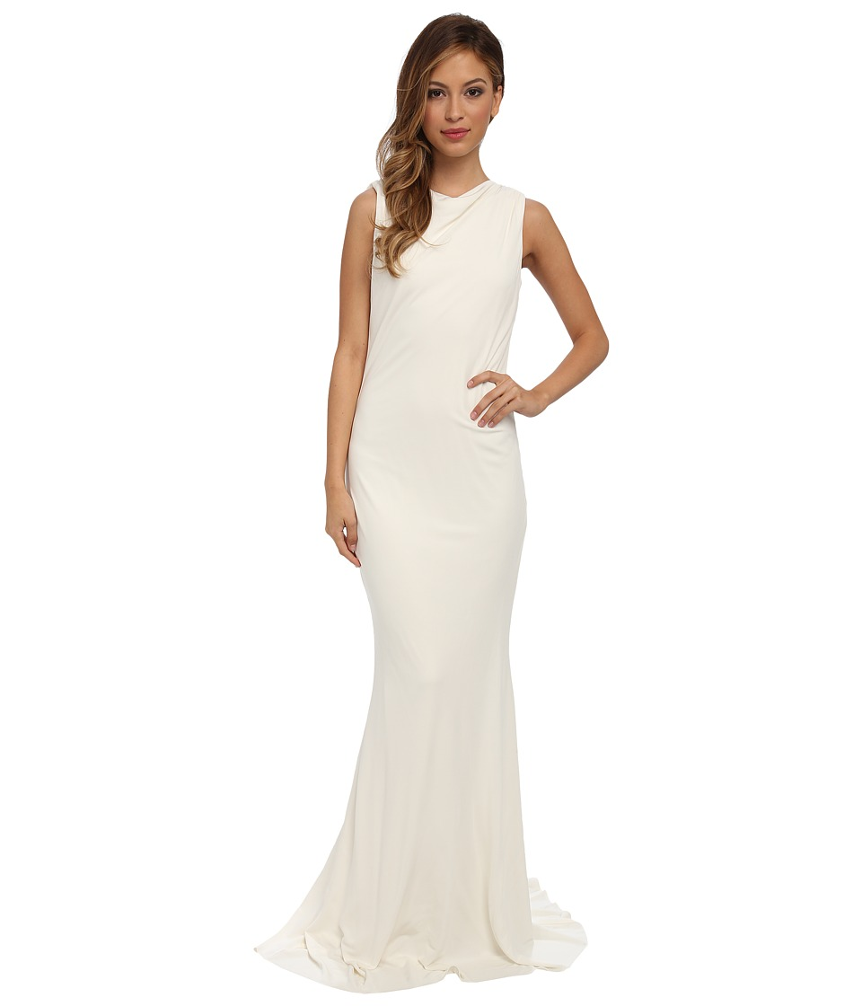 Badgley Mischka - Matte Jersey Bow Scoop Back Gown (Ivory) Women