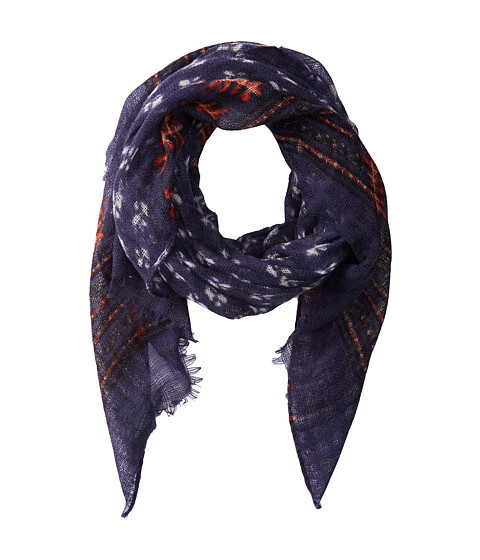 LAUREN by Ralph Lauren - Mixed Pattern Black Print Scarf (Indigo Block Print) Scarves