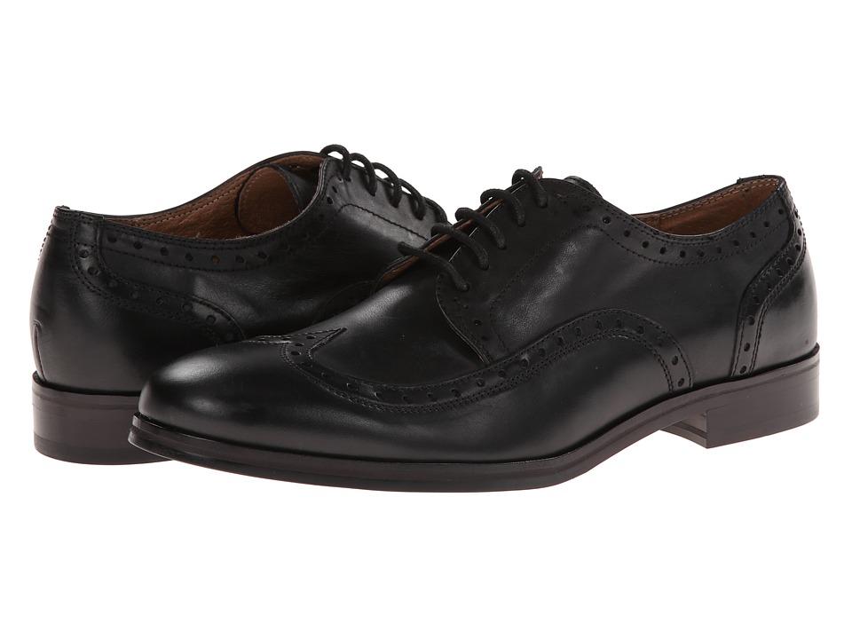 JD Fisk - Beckham (Black Leather) Men's Lace Up Wing Tip Shoes