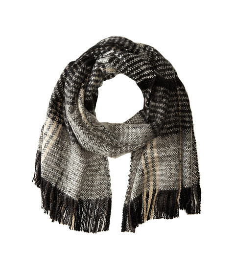 Echo Design - Scotland Plaid Woven Wrap (Black) Scarves