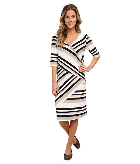 Lole - Leena V-Neck Dress (Black Multi-Stripe) Women