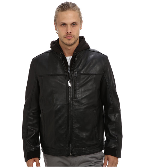 Marc New York by Andrew Marc - Gage Hooded Leather Moto Jacket (Black) Men