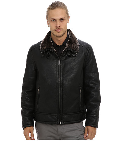 Marc New York by Andrew Marc - Frank Leather Bomber Jacket (Black) Men