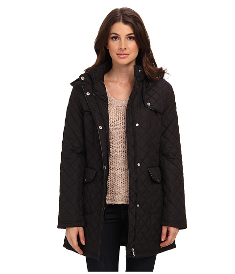 Larry Levine - Quilted Barn Jacket w/ Hood (Black) Women's Coat