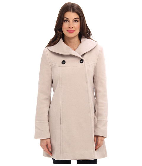 Larry Levine - Timeless Shawl Neck Double Breasted Wool Coat (Stone) Women