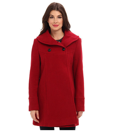 Larry Levine - Timeless Shawl Neck Double Breasted Wool Coat (Red) Women's Coat