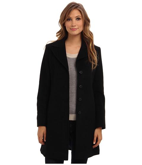 Larry Levine - Classic Luxurious Wool Walking Coat (Black) Women's Coat
