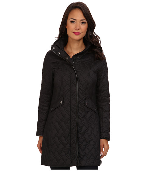 Larry Levine - Long Quilted Coat (Black) Women's Coat