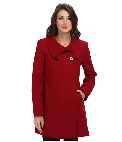 Larry Levine - Double Breasted Wool Coat w/ Stand Collar (Red) Women