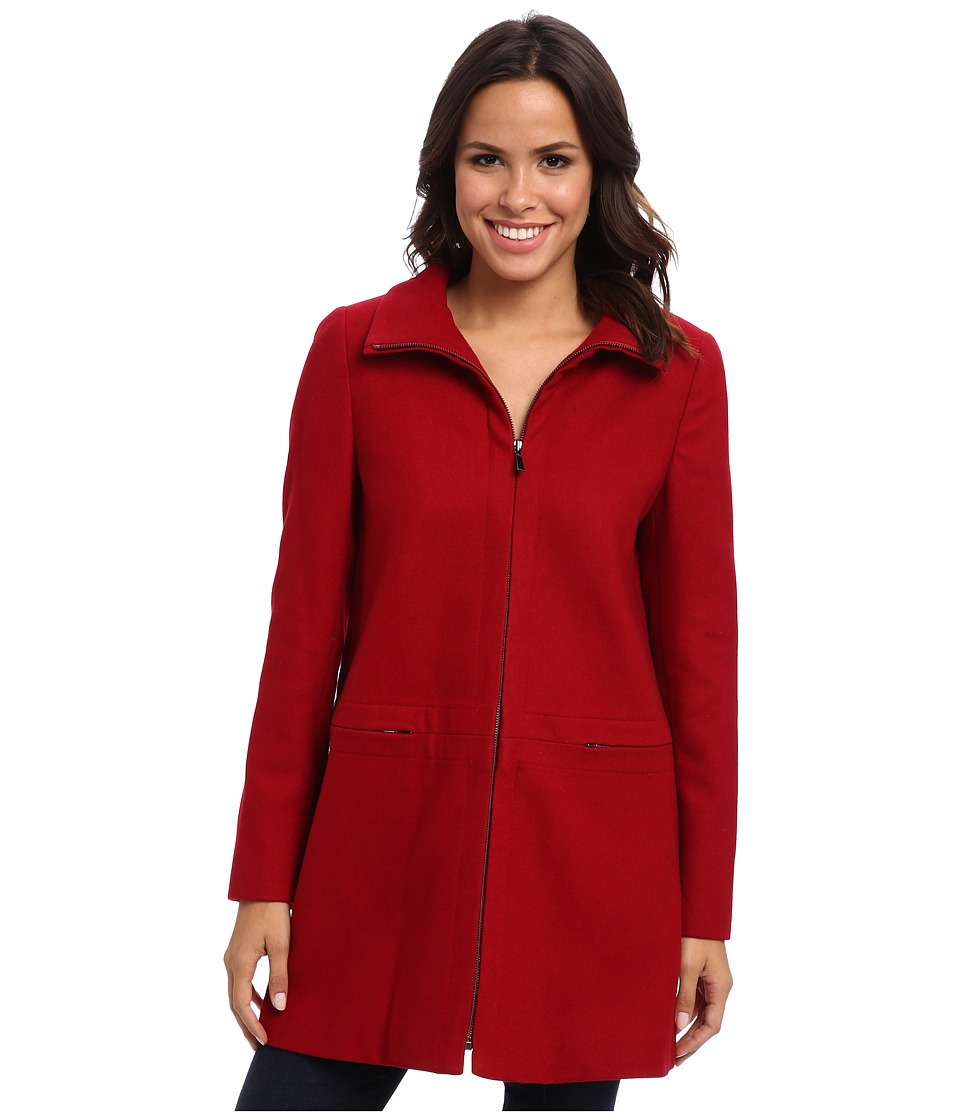 Larry Levine - Zip Front Wool Coat (Red) Women