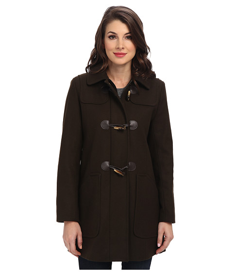 Larry Levine - Wool Duffle Coat w/ Toggle Closures (Loden) Women