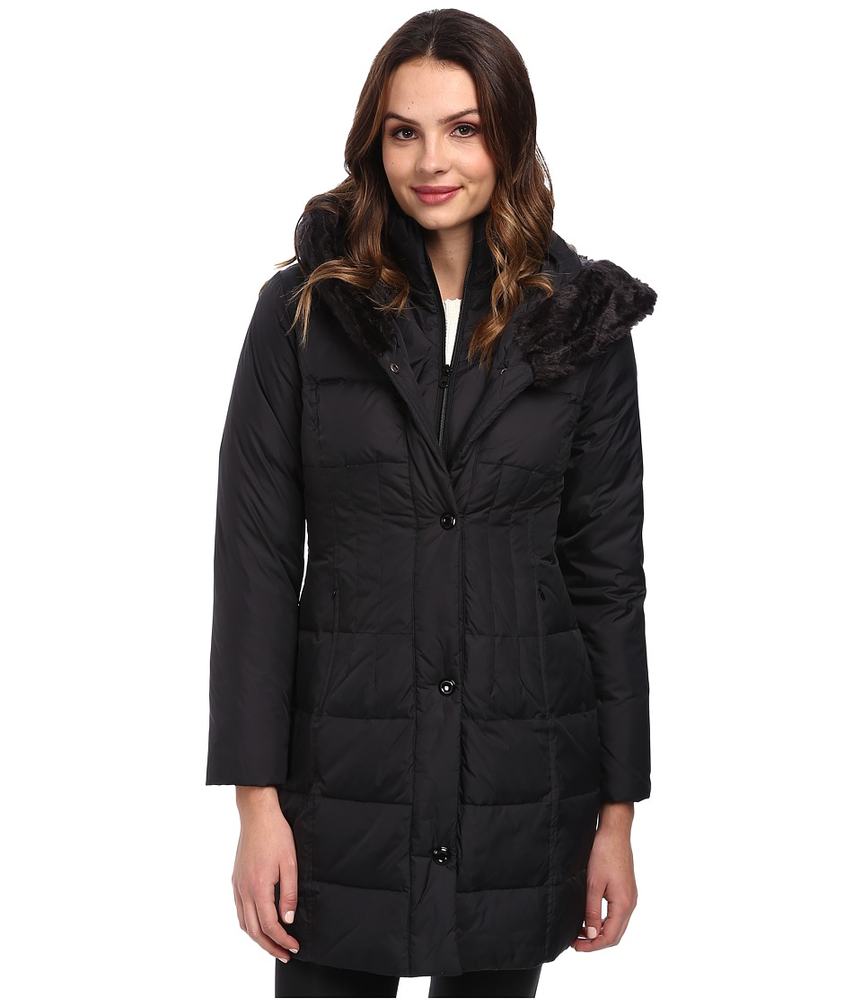 Larry Levine - 3/4 Length Down Coat w/ Soft Faux Fur Trim (Black) Women