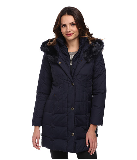 Larry Levine - 3/4 Length Down Coat w/ Soft Faux Fur Trim (Midnight) Women's Coat