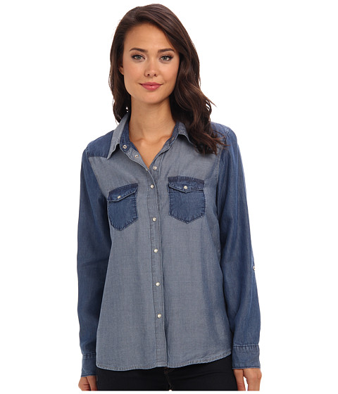 C&C California - Two-Tone Chambray Shirt (Chambray Multi) Women's Long Sleeve Button Up