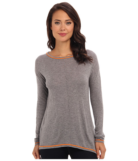 C&C California - L/S Side Slit Sweater (Heather Grey) Women's Sweater