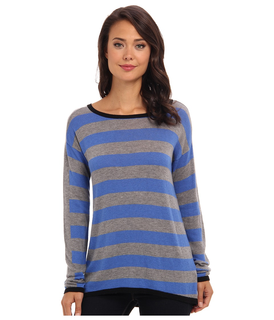 C&C California - L/S Striped Sweater (Heather Grey) Women's Sweater