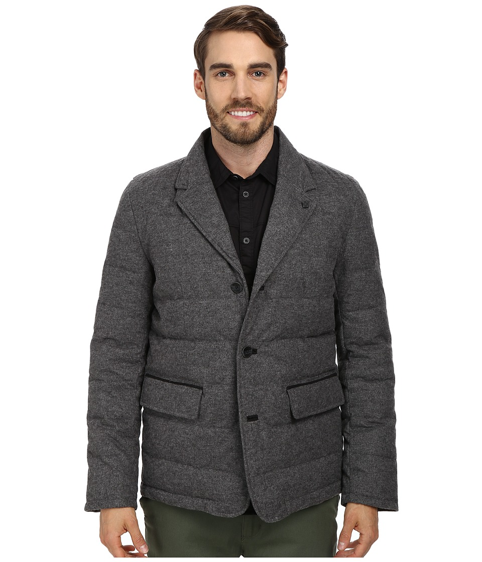 Vince Camuto Flannel Down Notch Collar With Nylon Bib Front Jacket (Grey) Men