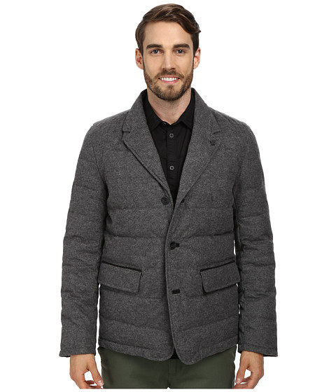 Vince Camuto - Flannel Down Notch Collar With Nylon Bib Front Jacket (Grey) Men's Coat