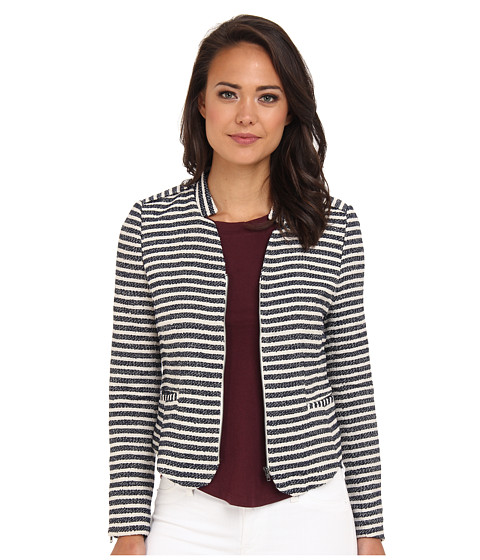ROMEO & JULIET COUTURE - Tweed Striped Jacket (Navy/Ivory) Women