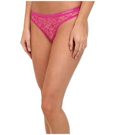 Emporio Armani - Lace Bon Bons All-Over Lace Thong (Pink) Women's Underwear
